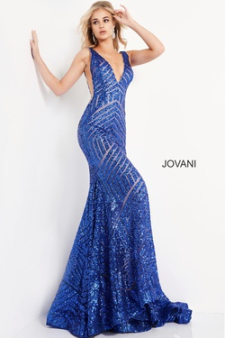 Style 59762 Jovani Blue Size 2 Sheer Tall Height Mermaid Dress on Queenly