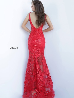Style 60283 Jovani Red Size 0 Sheer Tall Height Fitted Mermaid Dress on Queenly