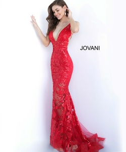 Queenly size 0 Jovani Red Mermaid evening gown/formal dress