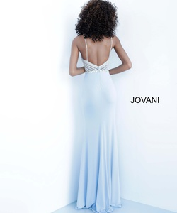 Style 63147 Jovani Blue Size 6 Sequin Jewelled Flare Tall Height Straight Dress on Queenly