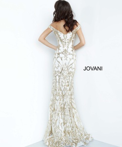 Style 63349 Jovani Gold Size 6 Tall Height Train Dress on Queenly