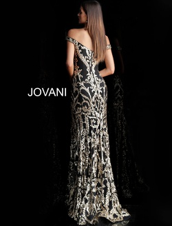Style 63349 Jovani Multicolor Size 8 Tall Height Fitted Train Dress on Queenly