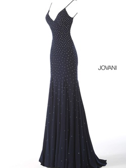 Style 63563 Jovani Blue Size 00 Wedding Guest V Neck Fitted Straight Dress on Queenly