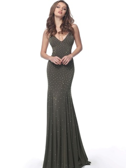Style 63563 Jovani Green Size 4 Wedding Guest V Neck Fitted Straight Dress on Queenly