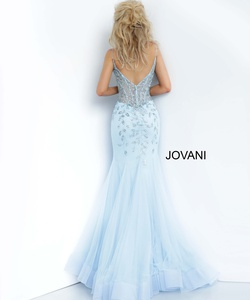 Style 63704 Jovani Light Blue Size 12 Tall Height Mermaid Dress on Queenly
