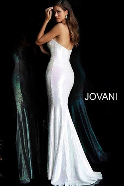 Style 65069 Jovani White Size 4 Tall Height V Neck Fitted Mermaid Dress on Queenly