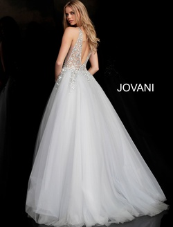 Style 65379 Jovani Silver Size 0 Tall Height V Neck Ball gown on Queenly