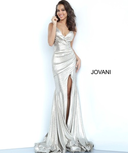Queenly size 0 Jovani Silver Side slit evening gown/formal dress