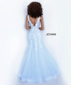 Style 8066 Jovani Blue Size 12 Tulle Mermaid Dress on Queenly