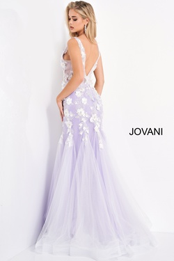 Style 8066 Jovani Purple Size 14 Sheer Tulle Mermaid Dress on Queenly
