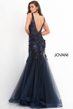 Style 8066 Jovani Black Size 8 Sheer Tall Height Mermaid Dress on Queenly