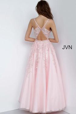 Style JVN3388 Jovani Pink Size 2 Sheer Fitted Tulle Ball gown on Queenly