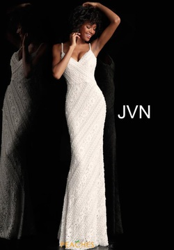 Style JVN62488 Jovani White Size 6 Tall Height Lace Fitted Straight Dress on Queenly