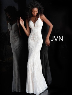 Queenly size 14 Jovani White Straight evening gown/formal dress
