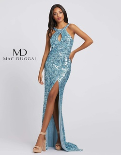 Style 3434a Mac Duggal Blue Size 4 Jewelled Prom Side slit Dress on Queenly