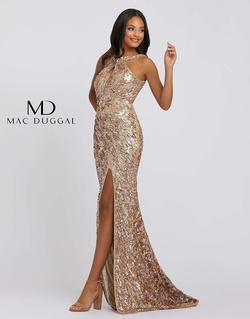 Style 3434a Mac Duggal Gold Size 8 Jewelled Halter Side slit Dress on Queenly