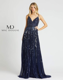 Style 4961m Mac Duggal Blue Size 10 Backless Train Tall Height V Neck A-line Dress on Queenly