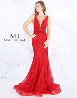 Style 66707m Mac Duggal Red Size 2 Train Tall Height Floral Mermaid Dress on Queenly