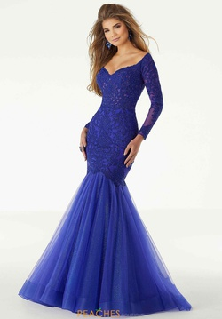 Queenly size 10 Mori Lee Blue Mermaid evening gown/formal dress
