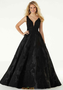 Style 43089 Mori Lee Black Size 00 A-line Backless Sheer Ball gown on Queenly