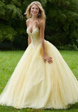 Queenly size 4 Mori Lee Yellow Ball gown evening gown/formal dress