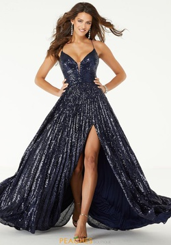 Style 45041 Mori Lee Blue Size 2 Corset Tall Height Fitted Side slit Dress on Queenly