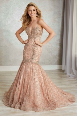 Style 16343 Tiffany Designs Pink Size 14 Train Tulle Mermaid Dress on Queenly