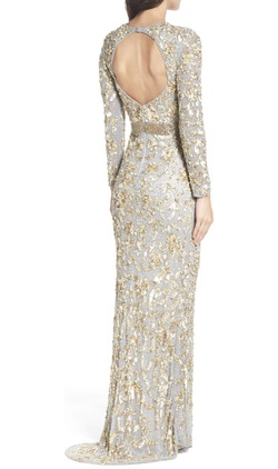 Mac Duggal Silver Size 0 Long Sleeve Backless Mermaid Dress on Queenly