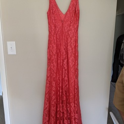 B. Darlin Pink Size 4 Lace V Neck A-line Dress on Queenly