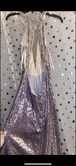 Rachel Allan Silver Size 8 Sequin Jewelled Straight Dress on Queenly