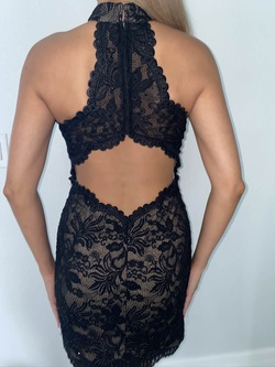 La Femme Black Size 6 Sorority Formal Tall Height Lace Cocktail Dress on Queenly