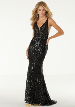 Queenly size 6 Mori Lee Black Straight evening gown/formal dress