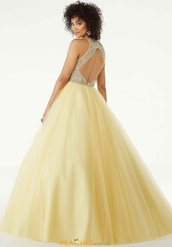 Style 45072 Mori Lee Yellow Size 10 Sheer Embroidery Fitted Tulle Ball gown on Queenly