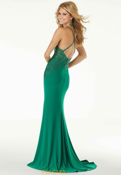 Style 45077 Mori Lee Green Size 10 Jersey Fitted Train Side slit Dress on Queenly