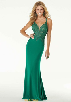 Queenly size 10 Mori Lee Green Side slit evening gown/formal dress