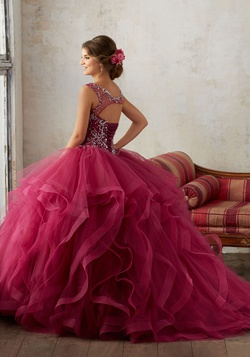 Style 89131 Mori Lee Red Size 18 Tulle Corset Tall Height Ball gown on Queenly