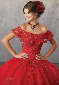 Style 89168 Mori Lee Red Size 2 Quinceanera Tall Height Ball gown on Queenly
