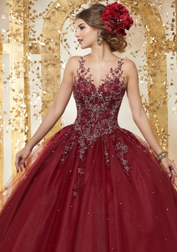 Style 89223 Mori Lee Red Size 12 Quinceanera Tulle Tall Height Ball gown on Queenly