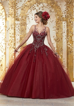 Queenly size 12 Mori Lee Red Ball gown evening gown/formal dress