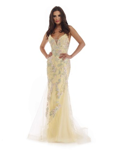 Style 16252 Morrell Maxie Yellow Size 0 Corset Tulle Mermaid Dress on Queenly
