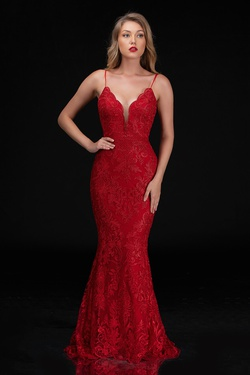Style 4201 Nina Canacci Red Size 12 Plunge Train Dress on Queenly