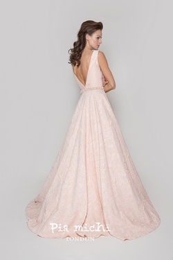 Style 1999 Pia Michi Pink Size 12 Backless Ball gown on Queenly