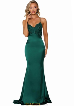 Style PS6304 Portia and Scarlett Green Size 6 Corset Backless Tall Height Train Dress on Queenly