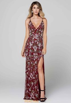 Style 3073 Primavera Red Size 0 Tall Height Floral Side slit Dress on Queenly