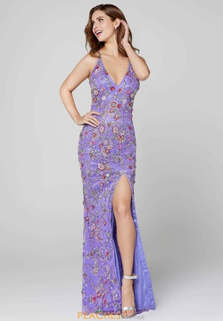 Style 3073 Primavera Purple Size 00 Backless Floral Side slit Dress on Queenly
