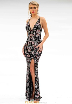 Style 3073 Primavera Black Size 2 Backless Tall Height Side slit Dress on Queenly