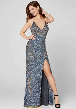 Style 3211 Primavera Silver Size 0 Custom Side slit Dress on Queenly