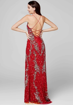 Style 3211 Primavera Red Size 2 Plunge Sequin Side slit Dress on Queenly