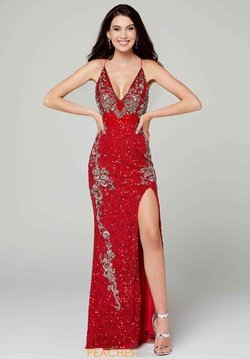 Queenly size 2 Primavera Red Side slit evening gown/formal dress