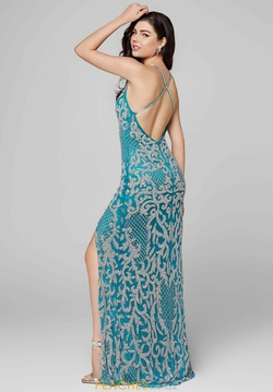 Style 3214 Primavera Blue Size 2 Tall Height Side slit Dress on Queenly